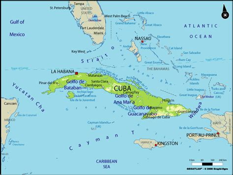 Large Physical Map of Cuba