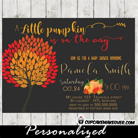 Autumn Baby Shower Invitations by Pumpkin Autumn Baby Shower Invitation
