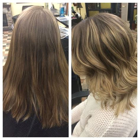shoulder length haircuts before and after balyage blonde before and after shoulder length cut