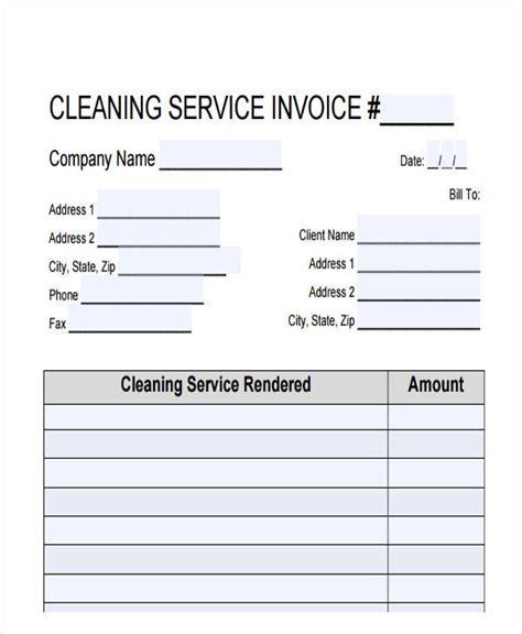 37 Sle Invoices Sle Templates Cleaning Service Bill Template