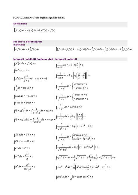 integrali tavola formulario integrali indefiniti docsity