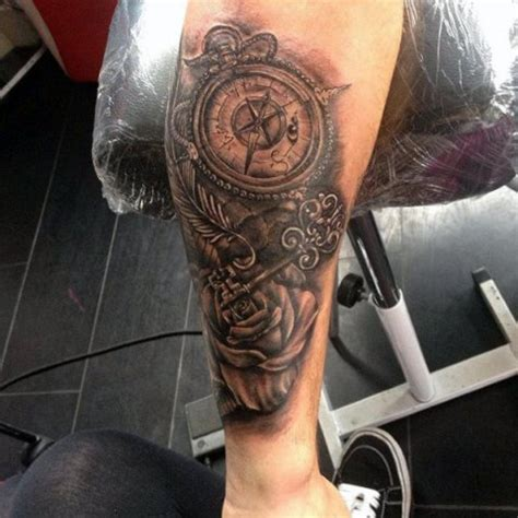 picture of key, rose and compass tattoo