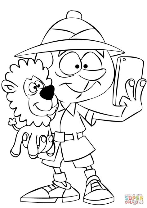 safari person coloring page safari man taking selfie with lion coloring page free