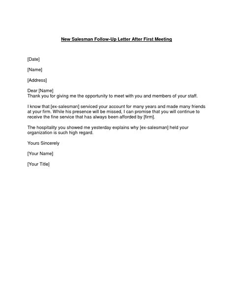 Business Letter Format For Meeting Follow Up Letter After The Meeting The Importance Of The Follow Up Letter After An Important