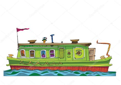 cartoon canal boat covered barge clip art 1 clip art vector site