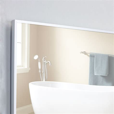 Frame Bathroom Wall Mirror Eviva Sax 174 57x20 Brushed Metal Frame Bathroom Wall Mirror Bathroom Vanities Modern Vanities