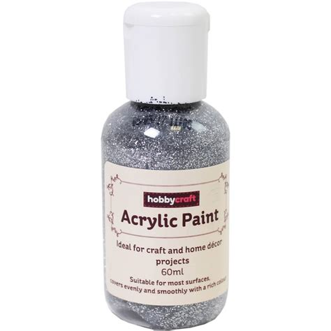 acrylic paint mixing silver silver glitter home craft acrylic paint 60ml hobbycraft