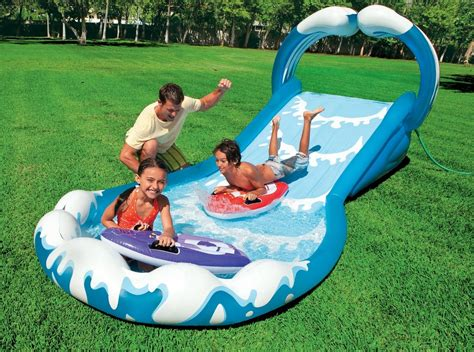 water slide inflatable waterslide splash pool outdoor