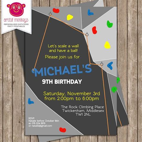 printable birthday invitations rock climbing 33 best rock climbing party images on pinterest