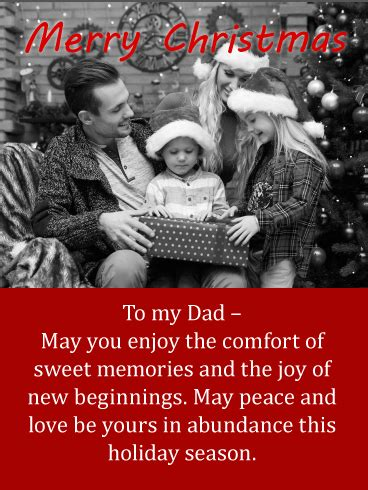 sweet memories merry christmas wishes card  father