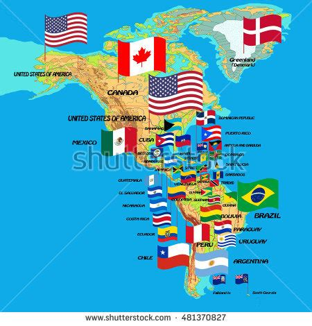south america map and flags south america map flags country stock vector