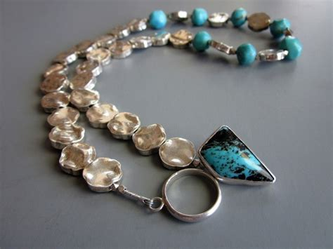Handcrafted Turquoise Jewelry - handcrafted sterling silver turquoise necklace