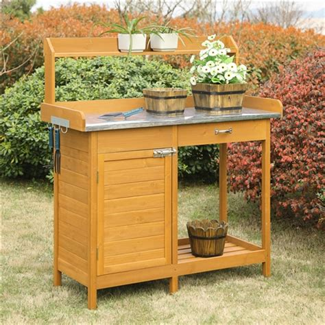 outdoor potting bench with storage outdoor garden organizer stainless steel top potting bench