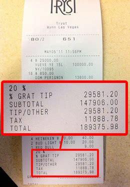 here's a $190,000 receipt from a las vegas nightclub eater