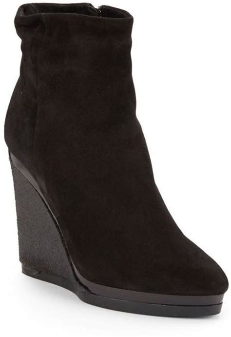 calvin klein delia suede fur wedge ankle boots in