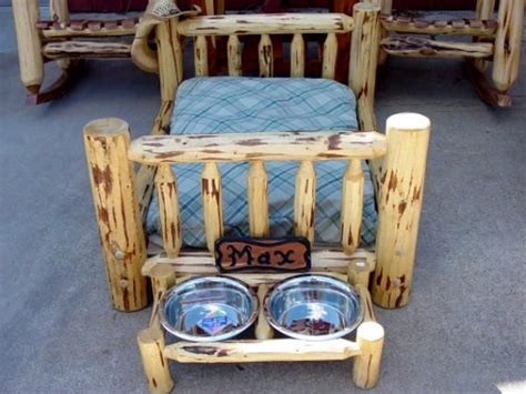 cedar stuff com rustic log furniture pinned with a precious quot rustic style quot dog bed and matching water and