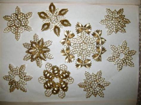 diy pasta snowflakes tree ornaments gold crafts kids
