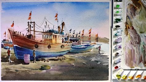 port boat watercolor painting fishing boat in port youtube