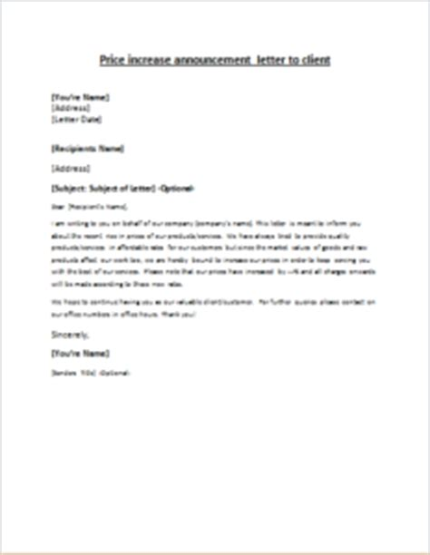 price increase announcement letter to client