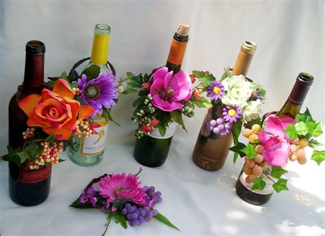 tropical wedding reception wine bottle centerpieces