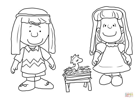 charlie brown christmas nativity coloring page free