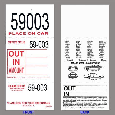 printable valet tickets valet parking tags 3 part doolins