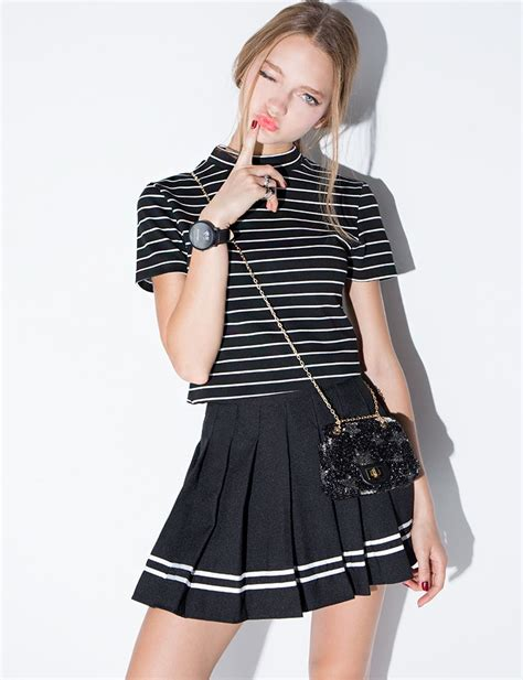 pixie market black varsity stripe pleated tennis skirt in