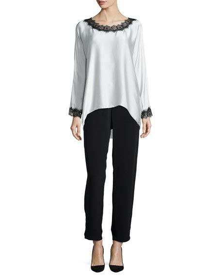 Lace Trim Sleeve Tunic go silk sleeve silk tunic w lace trim