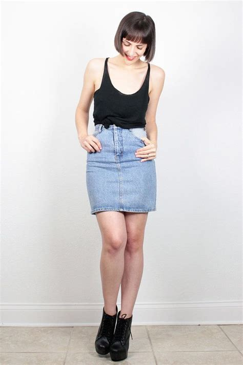 vintage denim skirt 1980s blue jean skirt denim mini skirt