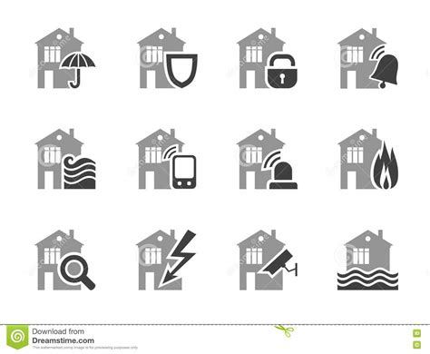 home security systems home insurance flat icons stock