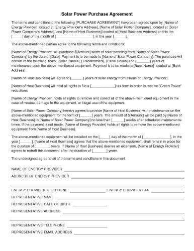 solar power purchase agreement template 31 sle agreement templates in microsoft word