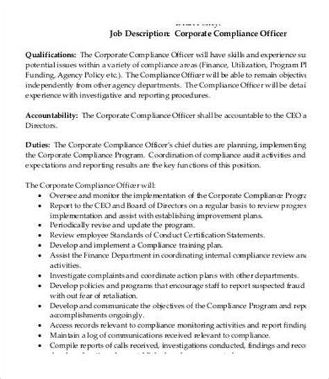 Corporate Compliance Officer by Compliance Officer Description 9 Free Word Excel
