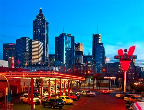 atlanta skyline from the varsity atlanta black