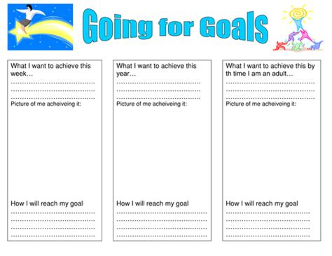 Target Card Template Ks2 by Setting Goals Activity By Jomax766 Teaching Resources Tes