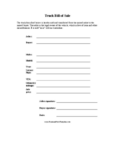 Truck Bill Of Sale Template Truck Bill Of Sale Form Template