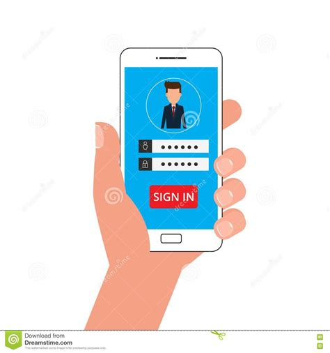 mobile sign in holding smartphone sign in page on smartphone screen
