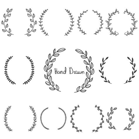 free graphics hand drawn laurel wreaths crafts