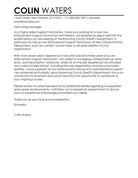 Enforcement Cover Letter Template Best Service Center Technician Cover Letter Exles Livecareer