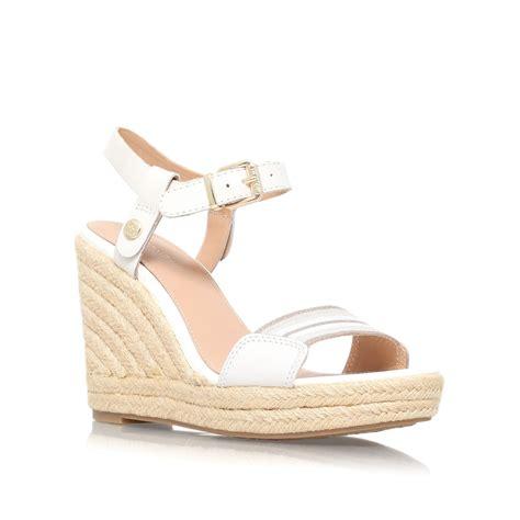 white high heel wedges hilfiger emery 87c high wedge heel sandals in white