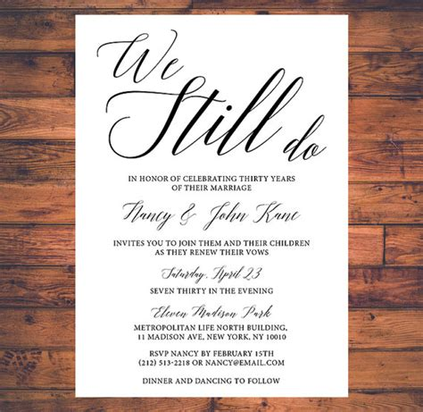 40th Wedding Anniversary Song List by Vow Renewal Invitation We Still Do Simple By Brightpaper