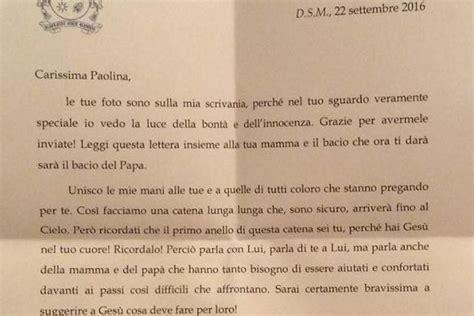 lettere per funerali il papa scrive a bimba malata la lettera letta ai funerali