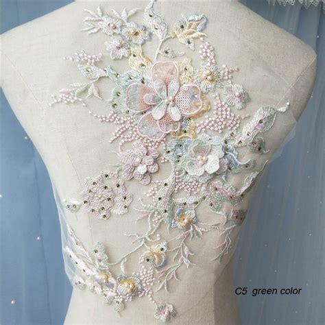 pc beaded lace applique patch  wedding dresses large