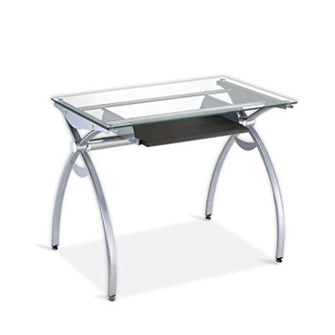 Computer Desk Glass Top Contempo Clear Glass Top Computer Desk With Pull Out Keyboard Panel Color Clear Kitchen In