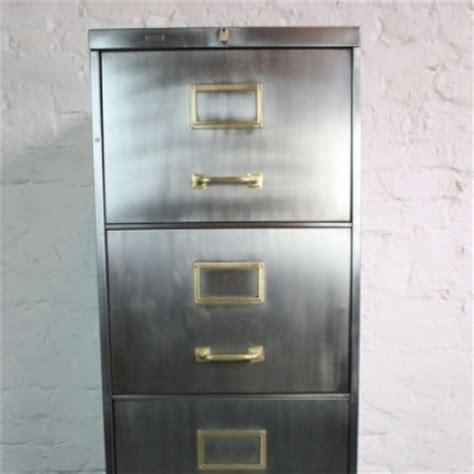 mid century polished steel filing cabinet made by roneo