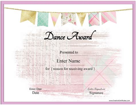 Templates For Dance Certificates | free dance certificate template customizable and printable