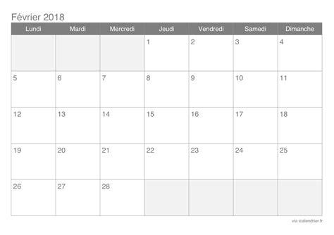 Calendrier Mensuel 2018 à Imprimer Calendrier F 233 Vrier 2018 224 Imprimer Icalendrier