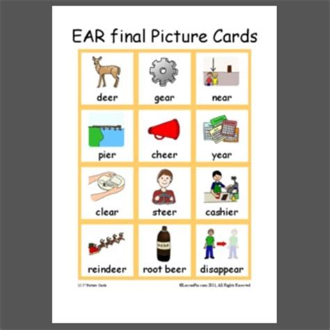 picture cards ear words pictures to pin on pinsdaddy