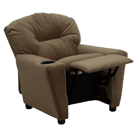 infant recliner chairs microfiber kids recliner chair cup holder brown dcg