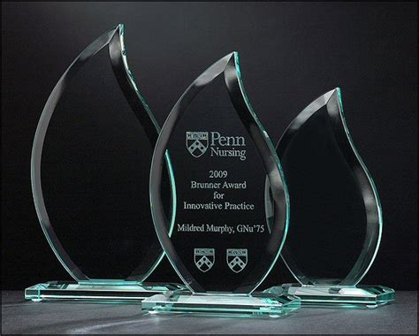 Flame Shaped Glass Award Airflyte Plaque Templates