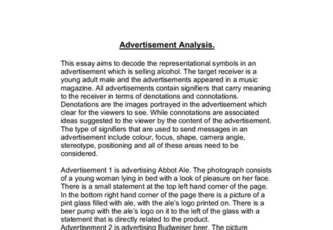 How To Write A Media Analysis Essay by Decode The Representational Symbols In An Advertisement Which Is Images Frompo
